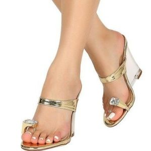Lucite Toe Ring Gold Wedges